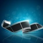 Camera film roll blue background, illustration